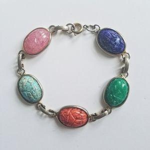 Vtg Egyptian revival carved scarab link bracelet